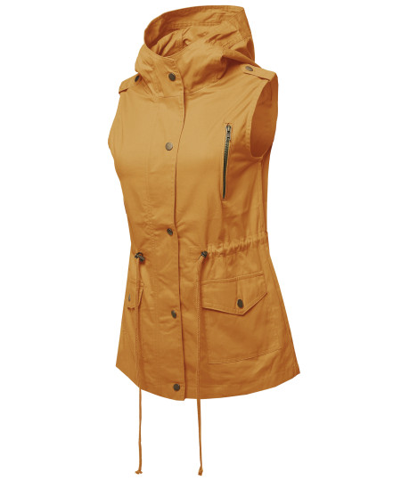 Women's Casual Zipper With Snap Button Closure Military Drawstring Hoodie Vest