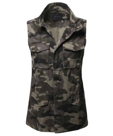 Women's Casual Neck Zipper With Snap Button Closure Military Drawstring Vest