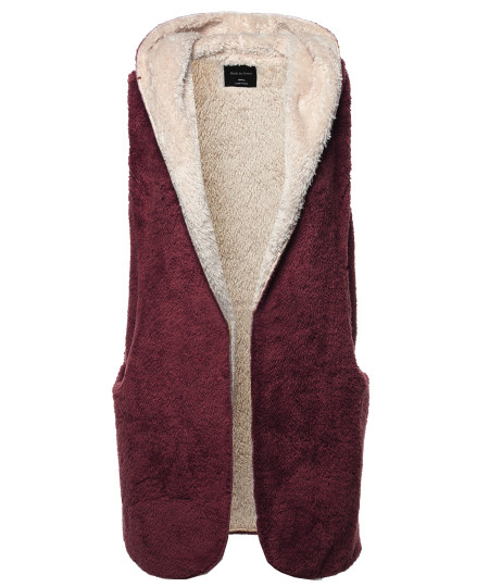 Women's Casual Oversized Hooded Faux Soft Fluffy Vest Outwear