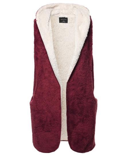 Women's Casual Oversized Hooded Faux Soft Fluffy Vest Outwear