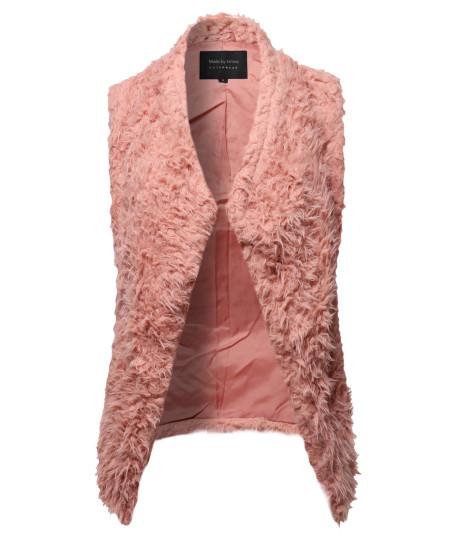 Women's Solid Warm Soft Fluffy Faux Fur Winter Vest Outwear