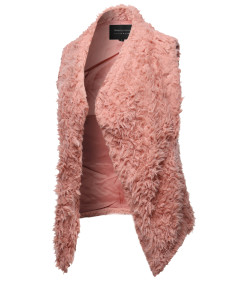 Women's Solid Warm Soft Fluffy Faux Fur Winter Vest Outwear