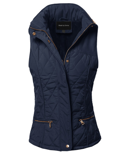 Women's Fitted Premium Solid Basic Quilted Warm Vest