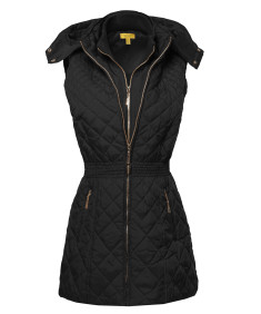 Women's Slim Fit Hooded Long Length Solid Quilted Vest