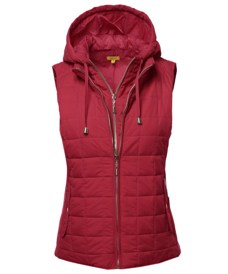 Women's Solid Basic Quilted Vest Side Rib Panel Details