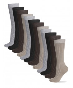 Men's Cotton Assorted Dress Socks Solid Ribbed Socks