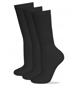 Men's Cotton Classic Crew Athletic Solid Ribbed Socks Long - Cut