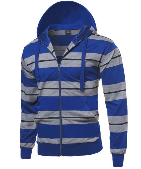 Men's Basic Stripe Light Weight Hoodie