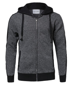 Men's Casual Workout Two Tone Fleeced Hoodie Sweatshirt
