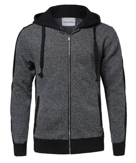 Men's Casual Workout Two Tone Fleeced Hoodie Sweatshirt