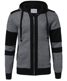 Men's Casual Workout Two Tone Zip-Up Fleeced Hoodie Sweatshirt