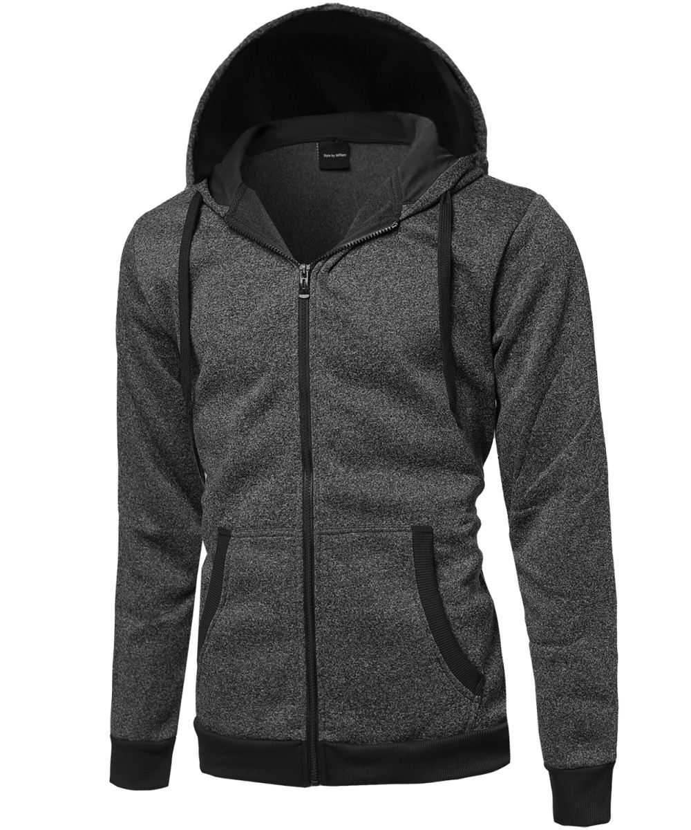 Men's Plush Fleece Zip Up Hoodie Jacket - FashionOutfit.com