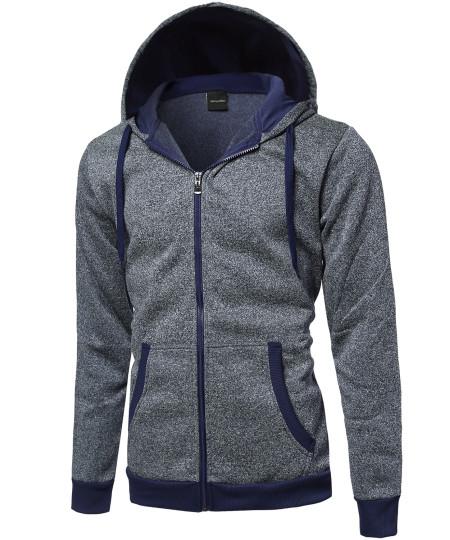 Men's Plush Fleece Zip Up Hoodie Jacket