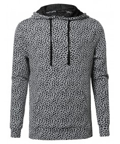 Men's Long Sleeve Patterned Hoodie With Side Slits
