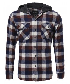 Men's Flannel Plaid Checkered Long Sleeve Shirt With Hood