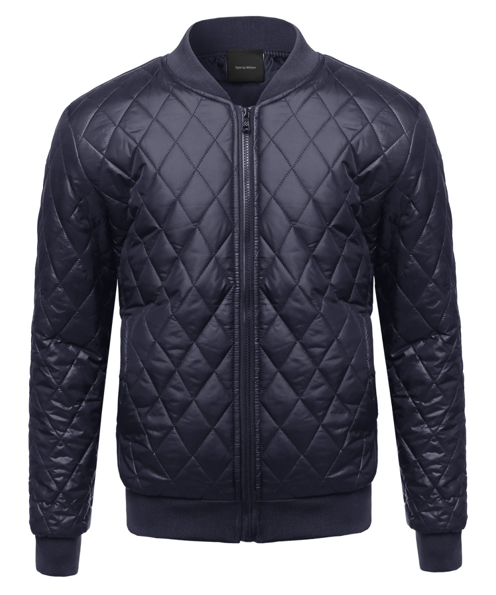 3cf1e1871 Men's Classic Lightweight Quilted Ribbed Padded Bomber Jacket ...
