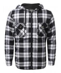 Men's Zip-Up Flannel Lightly Padded Inside Jacket