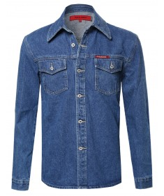 Men's Long Sleeve Denim Shirt Jacket With Front Pockets