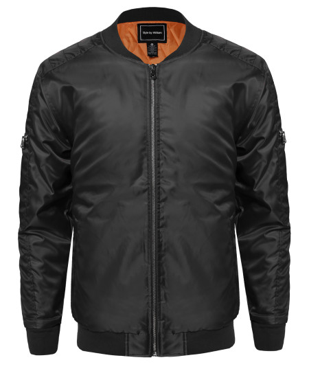 Men's Classic Basic Style Zip up Bomber Jacket With Zipper Details