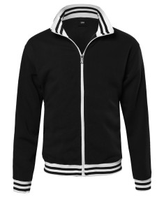 Men's Basic Full-Zip Fleece Jacket With Stripe Details