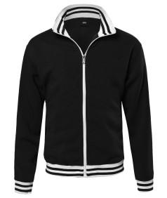 Men's Basic Full-Zip Fleece Jacket With Stripe Details