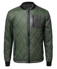 Men's Classic Quilted Contrast Pocket Harrington Bomber Jacket