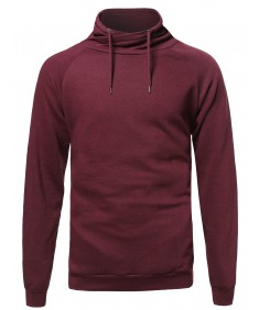 Men's Casual Solid Cowl Neck Fleeced Pullover Sweatshirt Hoodie