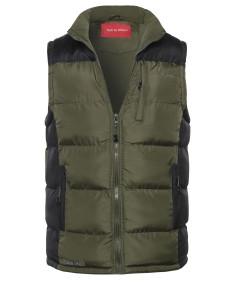 Men's Men's Contrasted Puffer Vest with Detachable hoody