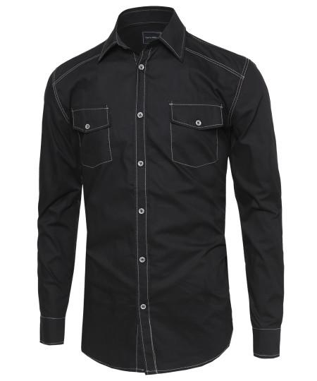 Men's Everyday Basic Button-Collar Chambray Long Sleeve Shirt