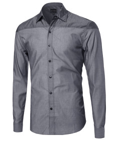 Men's Everyday Basic Button-Collar Chambray Long Sleeve Shirt