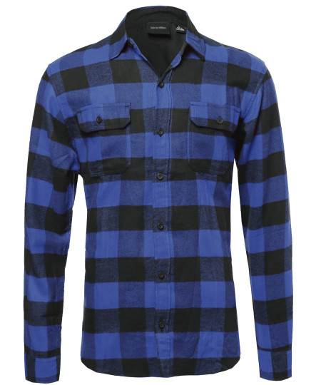 Men's Flannel Plaid Checkered Long Sleeve Shirt With Front Pockets
