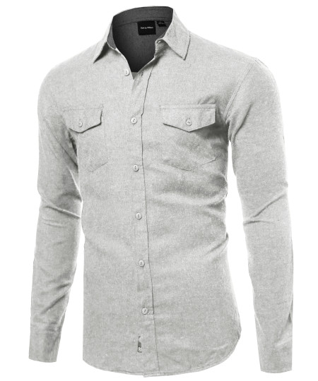 Men's Flannel Long Sleeve Shirt With Front Pockets