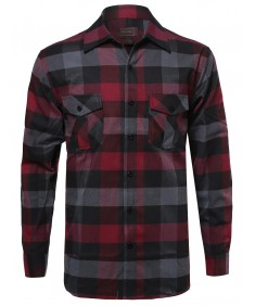 Men's Casual Flannel Button Down Plaid Checkered Long Sleeve Shirt
