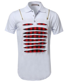 Men's Men's Zippered Shoulder Round Hem Polo