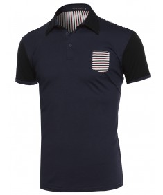 Men's Men's Solid and Striped Contrasted Polo Tee with straight Hem