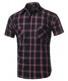 Men's Classic Short Sleeve Button Down Chest Pockets Shirt