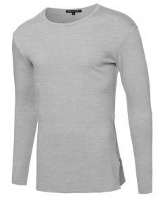 Men's Long Sleeve Round Bottom Zipper Tee