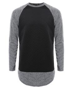 Men's Long Sleeve Two Tone Colored Raglan Sweatshirt