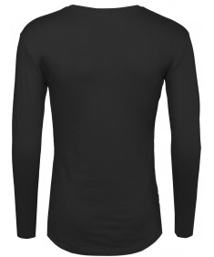 Men's Basic Long Sleeve Hi Lo Round Bottom Zipper Tee