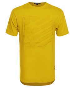 Men's Solid Patched Tee with Slight Round Hem