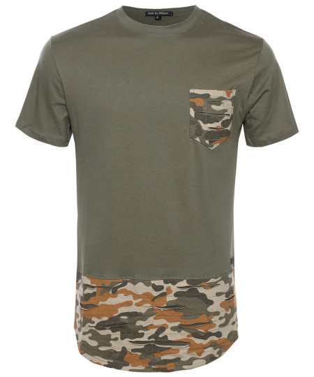 Men's Army Pocket Patched Tee with Rounded Hem