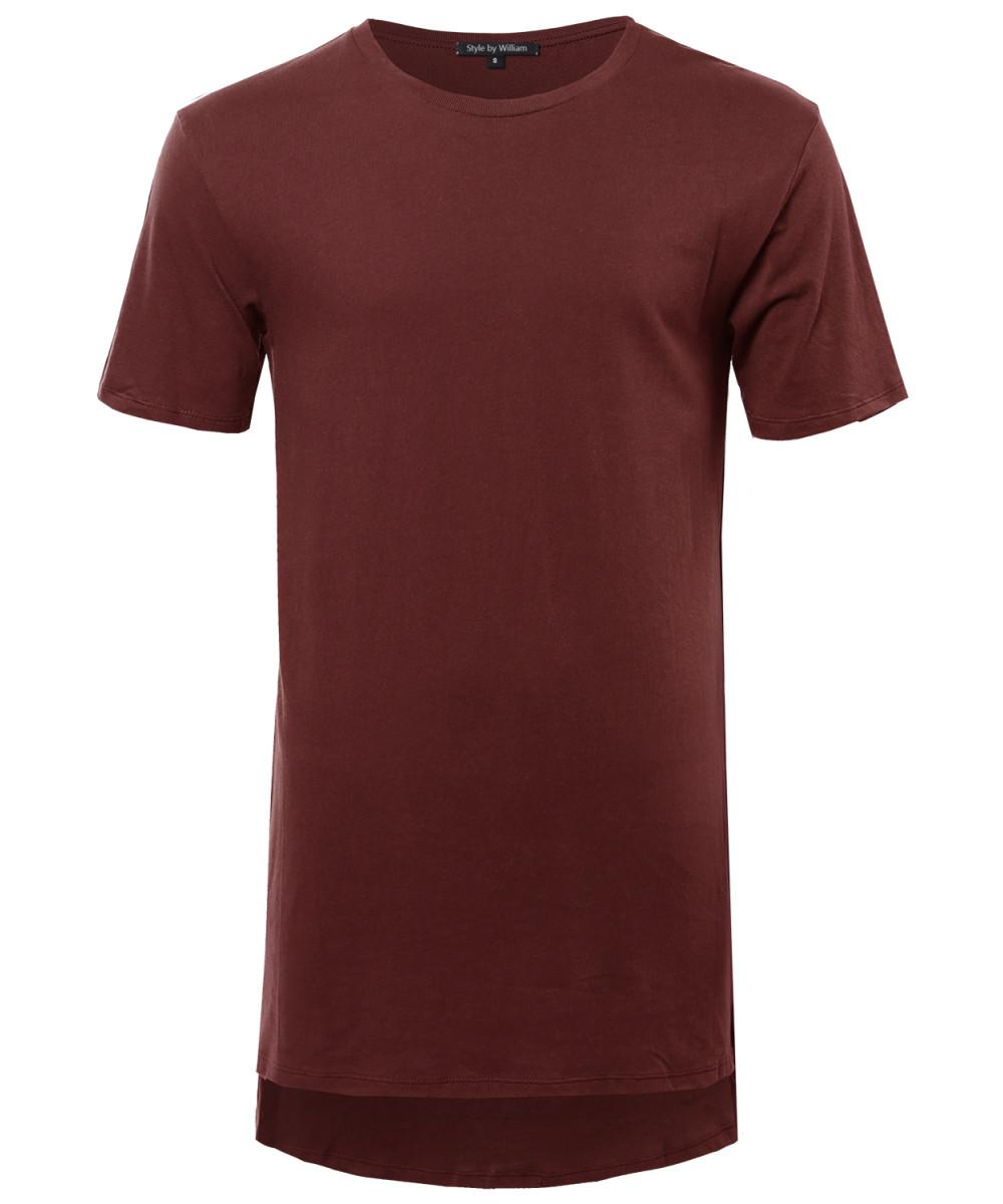 Men 39 s basic solid high low long line short sleeve cotton t for Long line short sleeve t shirt