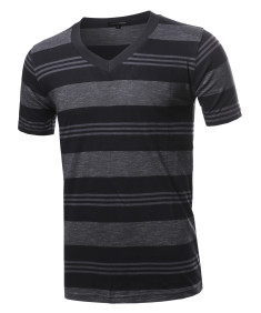 Men's Casual Soft Striped V-neck Short Sleeve Cotton T-Shirt