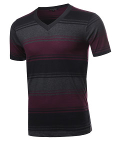 Men's Casual Soft Striped V-neck Short Sleeve Cotton T-Shirt