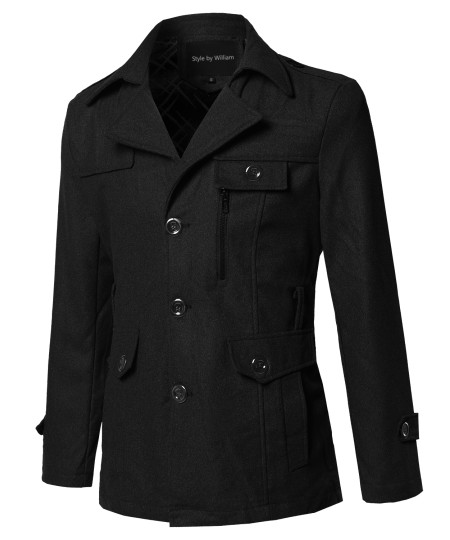 Men's Classic Solid Detachable Belt Coat