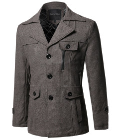 Men's Classic Tweed Pattern Detachable Belt Coat