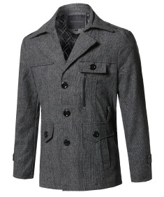 Men's Classic Micro Checked Detachable Belt Coat