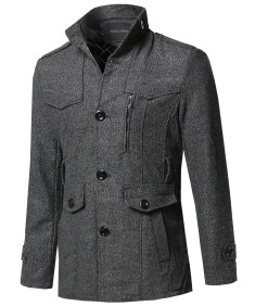 Men's Classic Tweed Pattern Mock Neck Detachable Belt Coat