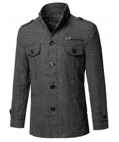 Men's Classic Tweed Pattern Slanted Side Pockets Detachable Belt Coat