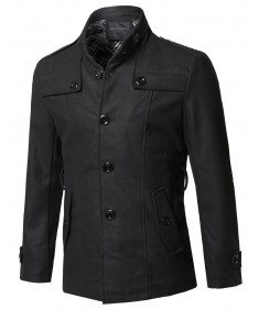 Men's Classic Slanted Side Pockets Detachable Belt Coat